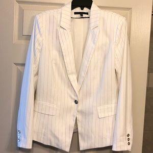 WHBM Ecru and Grey Pinstriped Blazer